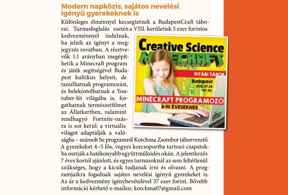 Józsefvárosi újság: Creative Science nyári táborok ☀️ Kedvezménnyel a józsefvárosi gyerekeknek!